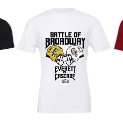 """2021 """"Battle of Broadway"""" Tee shirt Cascade H.S. vs Everett H.S."""